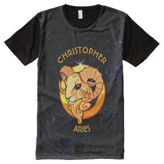Aries Zodiac Birthday Sign With Your Custom Name All-Over Print T-Shirt