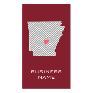 Arkansas State Map with Custom Red Heart and Name Pack Of Standard Business Cards