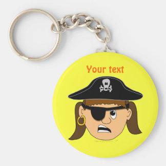 Arr Pirate Girl Cute Customizable Kid Pirate Stuff Basic Round Button Key Ring