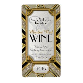 Art Deco Gold 2 Vintage Stylish Wine Bottle Labels