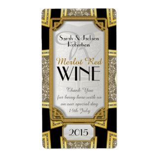 Art Deco Gold 3 Vintage Stylish Wine Bottle Labels