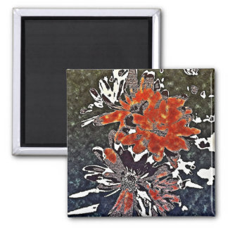 Art Deco Modern Flowers Floral Red Square Magnet