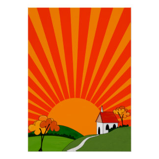 Art Deco Style Landscape with Church Poster