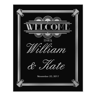 art deco, welcome to our wedding sign art photo