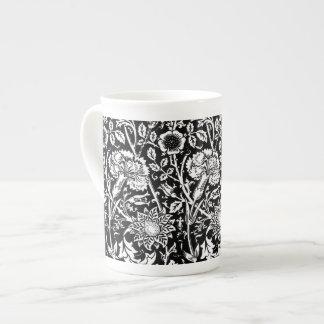 Art Nouveau Carnation Damask, Black and White Bone China Mug