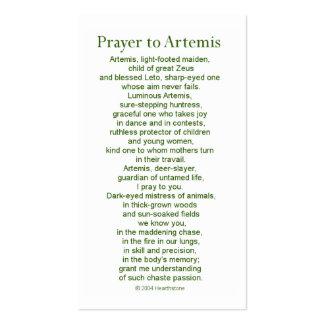 Artemis Prayer Card Pack Of Standard Business Cards