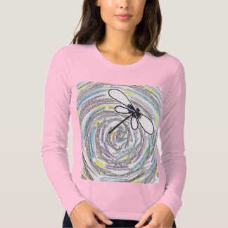 Artistic Dragonfly Ladies Long Sleeve (Fitted) Tee Shirt