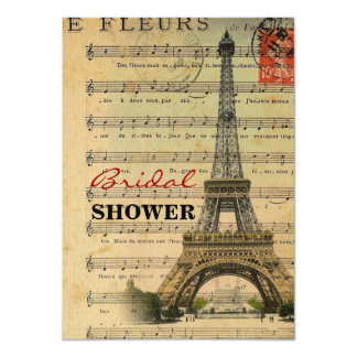 Artistic music notes Paris Eiffel Tower 11 Cm X 16 Cm Invitation Card