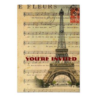 Artistic music notes Paris Eiffel Tower 13 Cm X 18 Cm Invitation Card