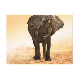 Artistic Rendition Elephant in dust and sunglow Canvas Prints