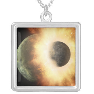Artist's concept of a celestial body square pendant necklace