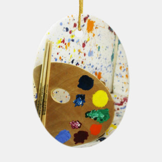 Artists Paint Splatter And Pallet of Paint Ceramic Oval Decoration