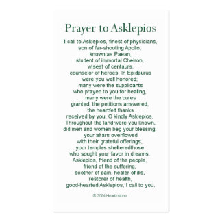 Asclepius Prayer Card Pack Of Standard Business Cards