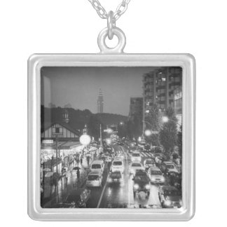 Asia, Japan, Tokyo. Evening, Harajuku Station, Square Pendant Necklace