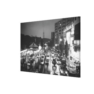 Asia, Japan, Tokyo. Evening, Harajuku Station, Stretched Canvas Print