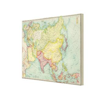 Asia political atlas map canvas prints