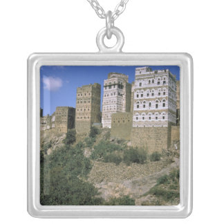Asia, Yemen, Al Hajjara. Buildings and only Square Pendant Necklace