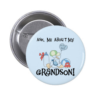Ask About My Grandson Tshirts and Gifts 6 Cm Round Badge
