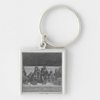 Asleep under the Stars Silver-Colored Square Key Ring