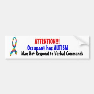Attention! Occupant has Autism Bumper Sticker