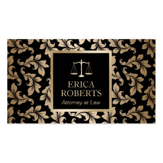 Attorney at Law Luxury Black & Gold Damask Lawyer Pack Of Standard Business Cards