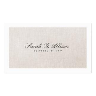 Attorney Faux Linen Elegant Beige Business Card