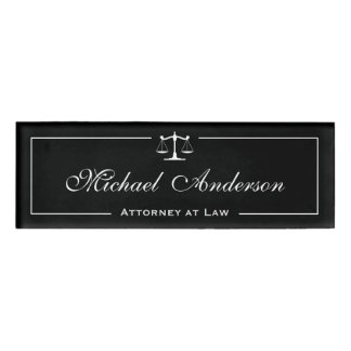 Attorney Lawyer Black White Justice of Scale Name Tag