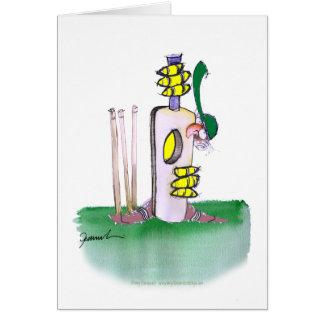 aussie batting lesson, tony fernandes greeting card