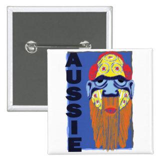 AUSSIE MASK 15 CM SQUARE BADGE