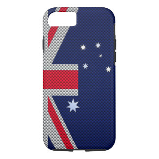 Australia Flag Design in Carbon Fiber Chrome Decor iPhone 7 Case