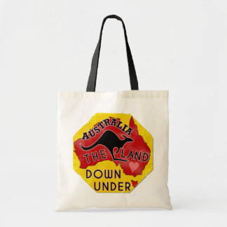 Australia Map Land Down Under with Kangaroo Retro Budget Tote Bag
