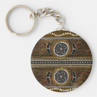 Australian Aboriginal Art - Food Gathering Basic Round Button Key Ring