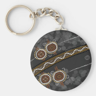 Australian Aboriginal Art - Lost Tribes Basic Round Button Key Ring
