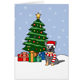 Australian Cattle Dog and Christmas Tree Greeting Card