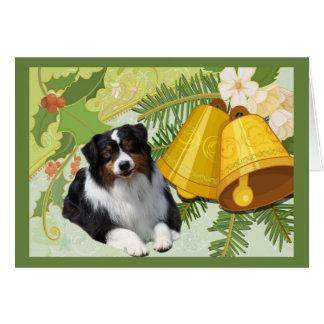 Australian Shepherd Christmas Card Bells