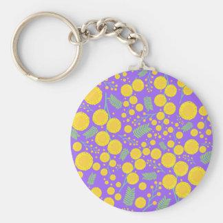 Australian Wattle Basic Round Button Key Ring