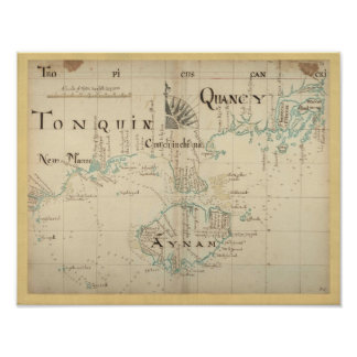 Authentic 1690 Pirate Map Poster