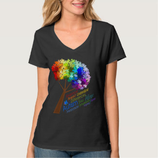 Autism Awareness Rainbow Puzzle Tree with Words Shirts