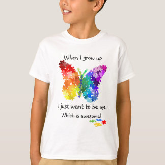 Autism Puzzle Butterfly When I Grow Up Design Tee Shirt