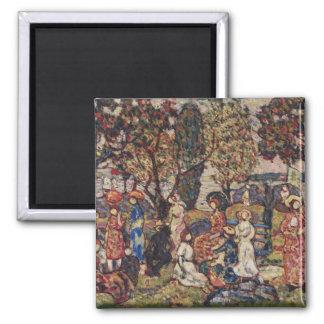 Autumn by Maurice Prendergast, Vintage Fine Art Square Magnet