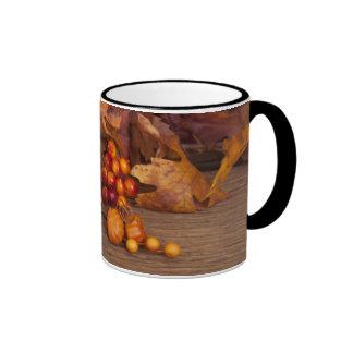 Autumn Candle Over Wooden Background Ringer Mug