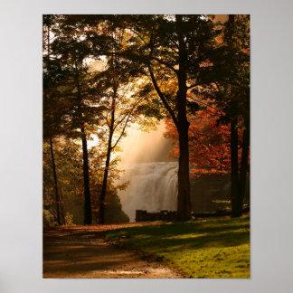Autumns Waterfall Mist Poster
