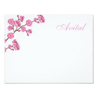 Avital Pink Blossoms Bat Mitzvah Thank You 11 Cm X 14 Cm Invitation Card