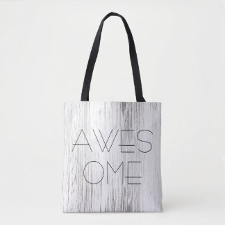 Awersome personalised silver wood white fashion tote bag