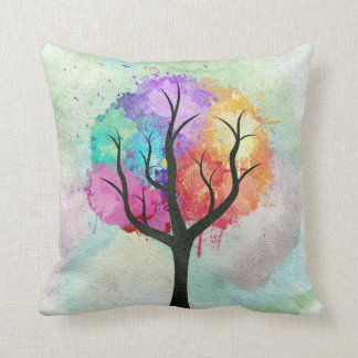 Awesome abstract pastel colours oil paint tree throw cushions