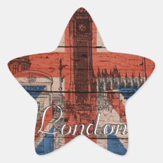 Awesome cool trendy old wood grunge U.k. flag Star Sticker
