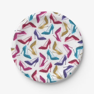 Awesome modern watercolor  girly high heel shoes 7 inch paper plate