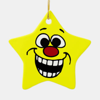 Awesome Smiley Face Grumpey Ceramic Star Decoration