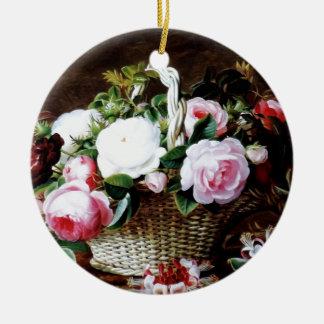 Awesome Vintage Basket of Roses Photo Image Round Ceramic Decoration