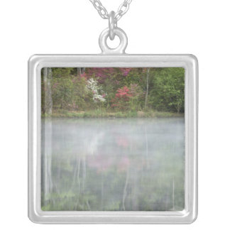 Azaleas relfecting in a pond during early square pendant necklace